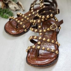 SAM EDELMAN Elisa Studded Gladiator Sandal Gold 6